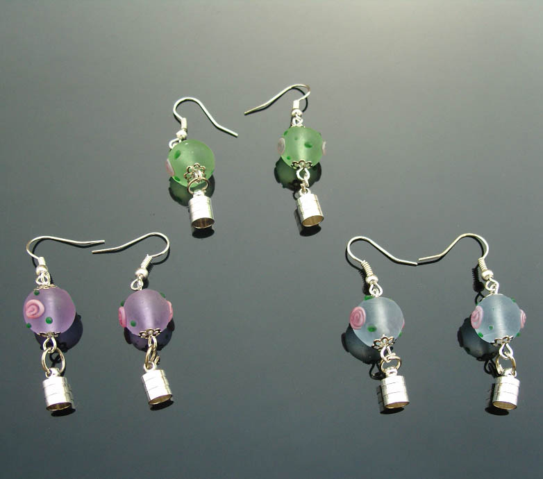 Premade Earrings(Sold in Per Pairs,5MM Caps,Assorted Murano Glass Beads)