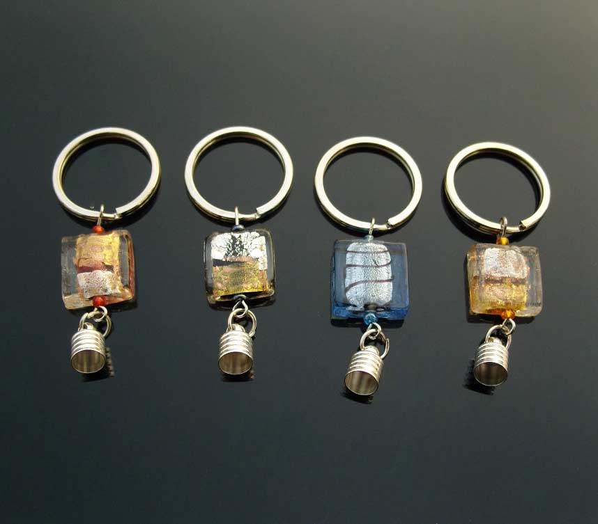 Premade Keychains(6MM Caps,Assorted Murano Glass Beads)