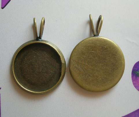 15MM Bronze Circle Photo Jewelry Pendant Blank Sold In Per Package Of