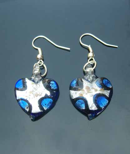 Murano Heart  Earrings (sold in per pairs)