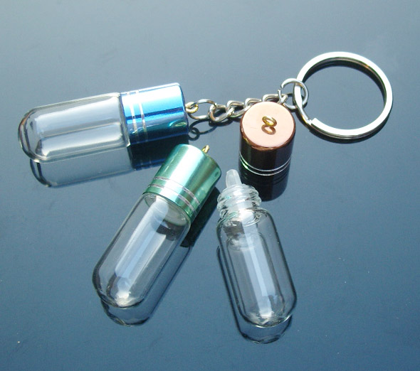 DIY Bottle Keyring Charms (39x15MM,2.5ML,Assorted Colors)