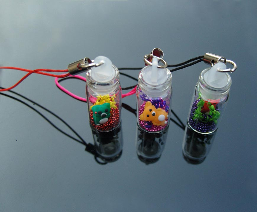 Mini Bottle With bears,beads,real flowers(Assorted)