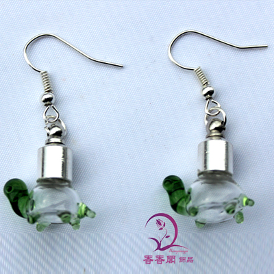 Premade Earrings(Sold in Per Pairs,6MM Turtle Green Preglued silver-plated screw caps)