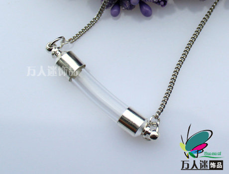 Glass vial rice necklace(6MM curve vials,preglued silver-plated screw caps)