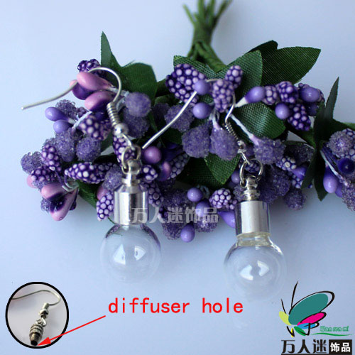 Perfume Vial Earrings(Sold in Per Pairs,6MM Bulb,With Diffuser Hole)