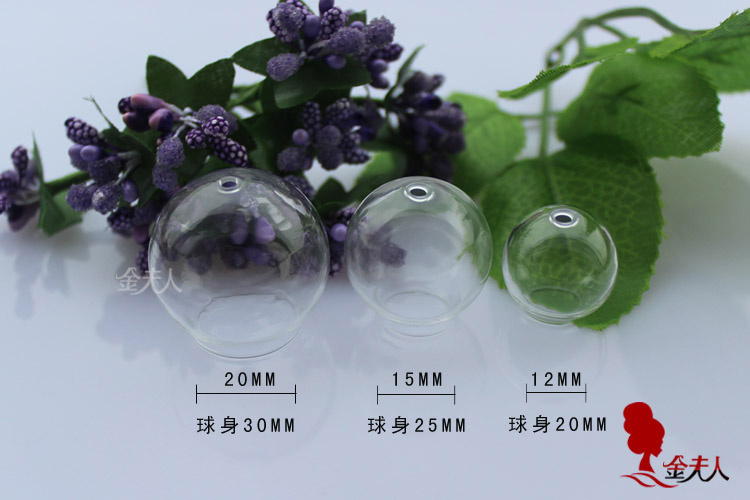 20MM/25MM/30MM/35MM Glass Globe Vials With Top Hole