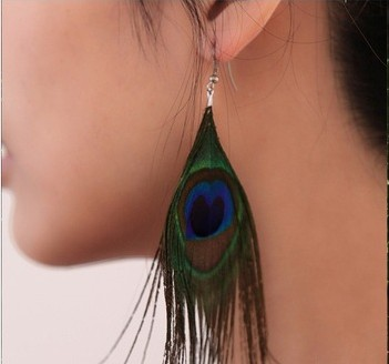 Natural Peacock Feather Earrings(Sold in per pairs)