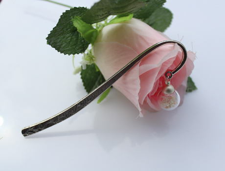 16MM Glass Ball Bookmark With Flower Inside