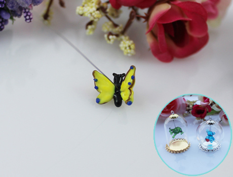 17x14MM Butterfly With Hanging Iron Wire