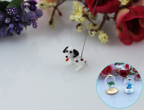 15x11MM Spotted Dog With Hanging Iron Wire