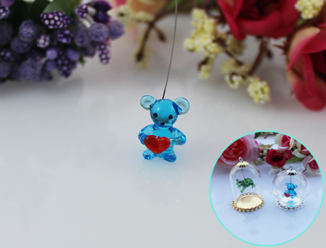 15x10MM Love Bear With Hanging Iron Wire