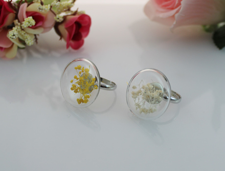 27MM Flat Bubble Liquid Rings With Dry Flower Inside(Mixed Colors)