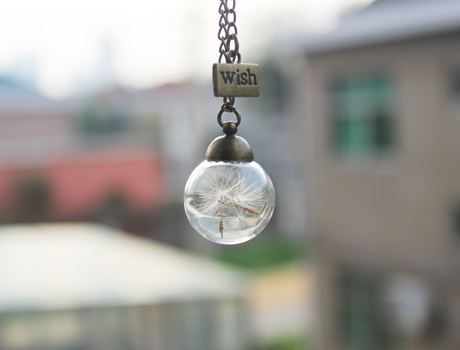 20/25MM Glass Dandelion Real Seed Globe with wish pendant Necklace
