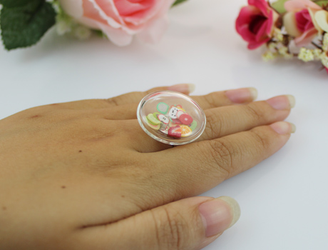 27MM Flat Bubble Liquid Rings with fruit flake inside