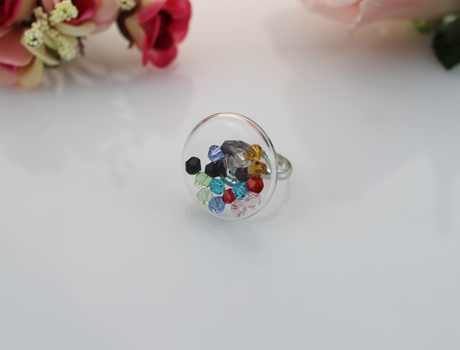 27MM Flat Bubble Liquid Rings with crystal lemon beads inside