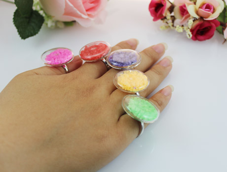 27MM Flat Bubble Liquid Rings with Stone stuffing inside(Mixed Colors)