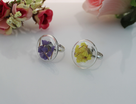 27MM Flat Bubble Liquid Rings with dry flower inside