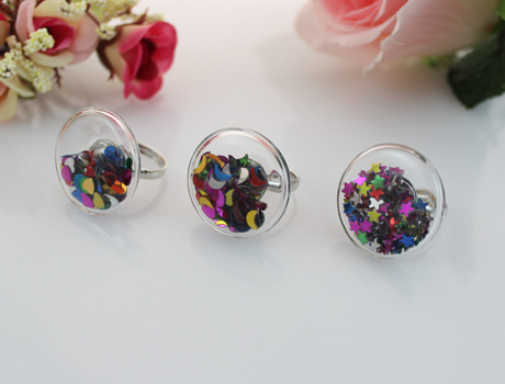 27MM Flat Bubble Liquid Rings with star/moon/heart inside
