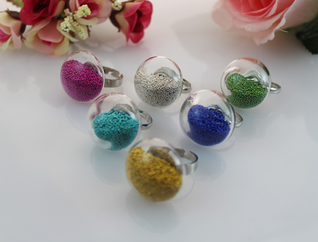 24X24MM Mushroom Liquid Rings with beads stuffing inside(Mixed Colors)