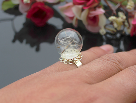20MM Glass Bubble Dandelion Ring