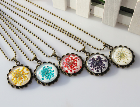25mm round pressed flower necklace pressed flower necklace diy 25mm round pressed flower necklace aloadofball Images