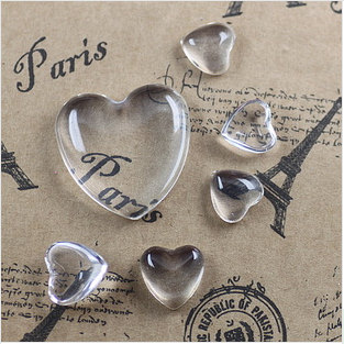 Low Dome Heart shape Clear Glass Cabochons