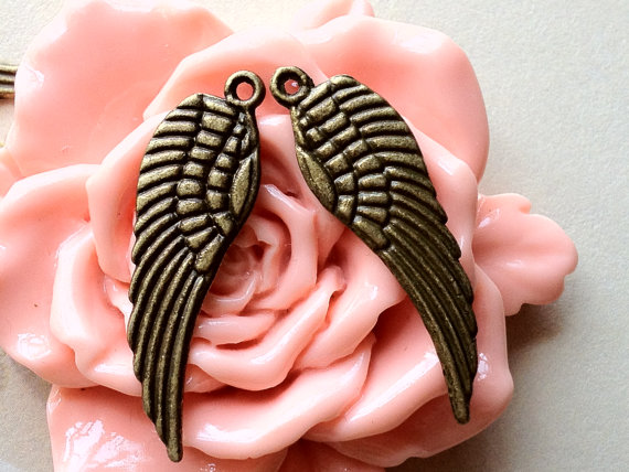 30mm x 10mm Medium Size Antique Bronze Angel Wing Charms