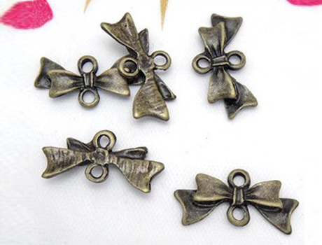 20 x 10 mm Antique Bronze Bow Ribbon Charm Connector