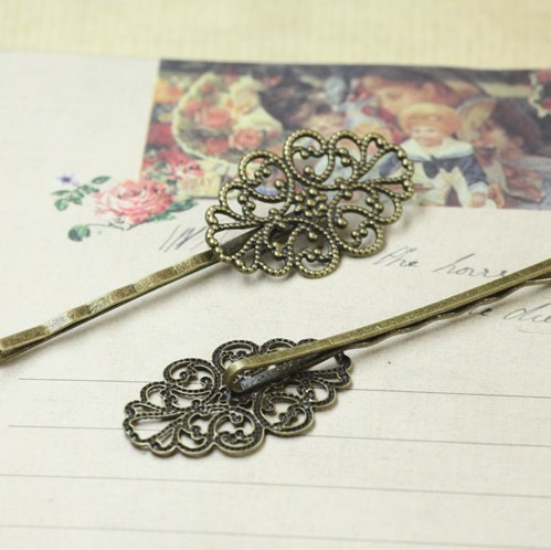 20X30MM Antiqued Bronze Ornate Oval Hair Clips Bobby Pins