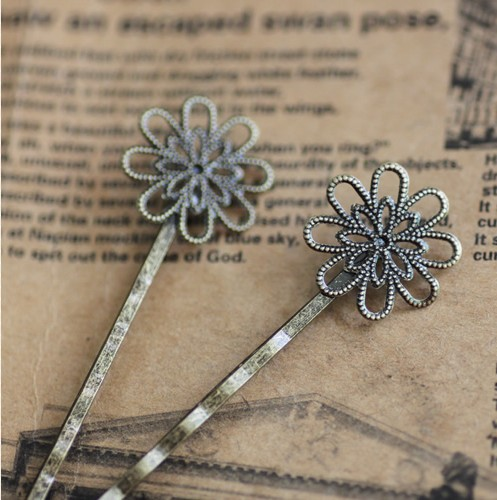 18MM Antique Bronze Flower Hair Clip