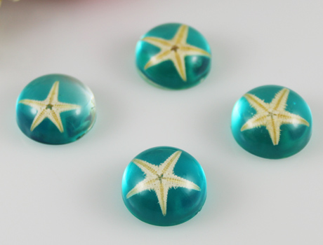 20mm Round Blue Starfish pendant