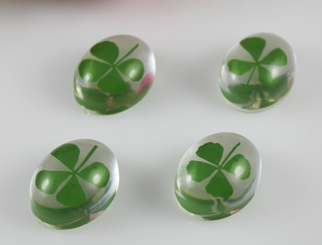 18X23mm Oval Clear Four leaf clover pendant