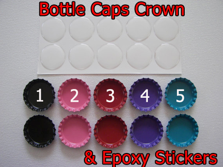 Double sided Color Crown Bottle caps No Hole and Epoxy Stickers