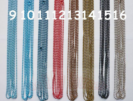 60CM 2.4mm Colors Ball necklace chains with matching connector