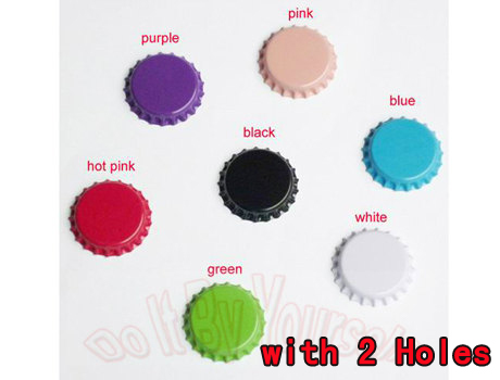 Double sided Color Crown Bottle caps with 2 Holes