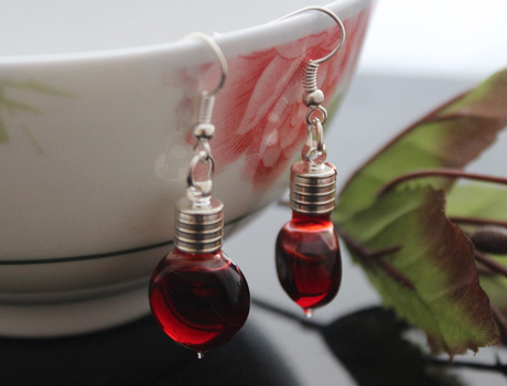 Heart Plain Blood Vial Earrings(6MM Glass Vials,Sold in per pairs)