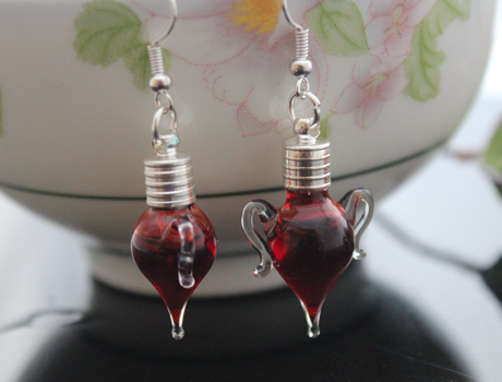 Cup Blood Vial Earrings(6MM Glass Vials,Sold in per pairs)