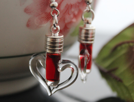 Heart Blood Vial Earrings(6MM Glass Vials,Sold in per pairs)