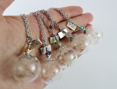 25MM Dandelion Real Seed Glass Bulb Wish Necklace