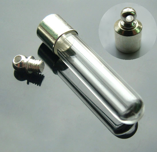 6MM Round Bottom Tube With Preglued Silver-plated screw caps(about 28MM Long)