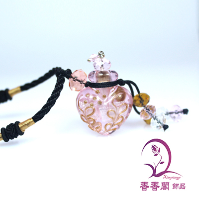 Murano Glass Perfume Necklace Heart (with cord)