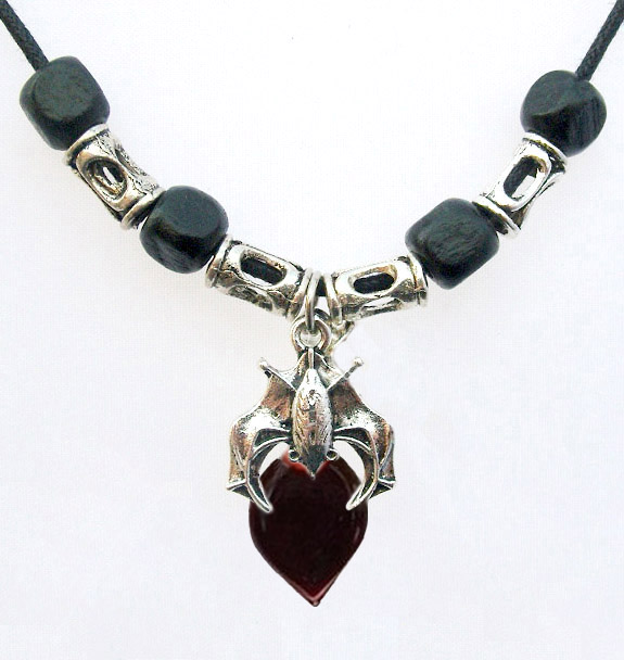 Blood Vial Heart Necklace with Guardian Bat