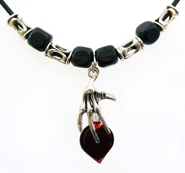 Blood Vial Heart Necklace with Skeleton Hand