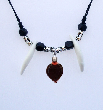 Blood Vial Heart Necklace with 2 ivories