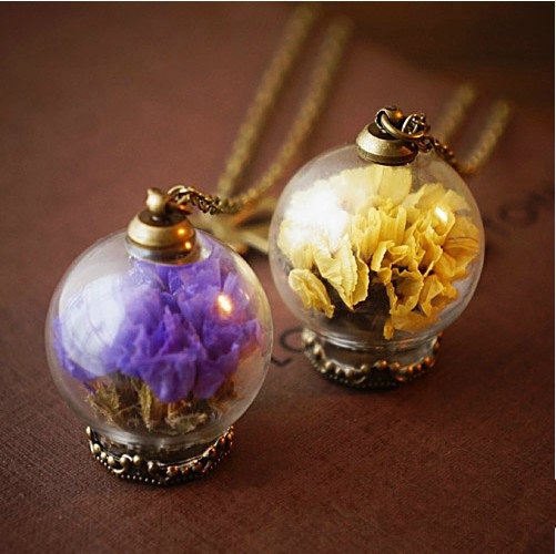 20MM Real Dry Flower Glass Globe Necklace