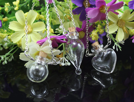 Wire Wrapped Clear Perfume Bottle Necklace