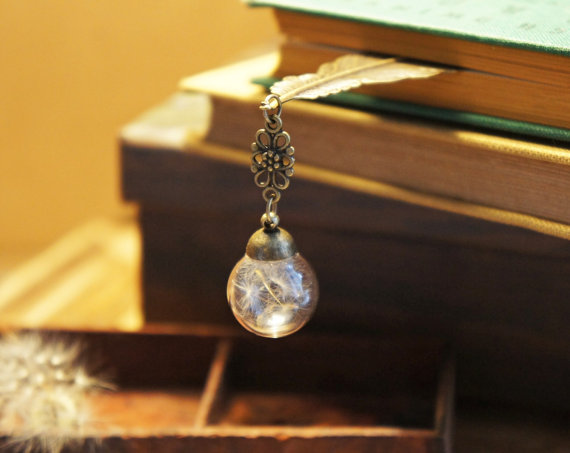 Feather bookmark with dandelion in glass orb