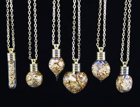 6MM Clear Glass Vial Necklace With Gold Foil&Water Inside