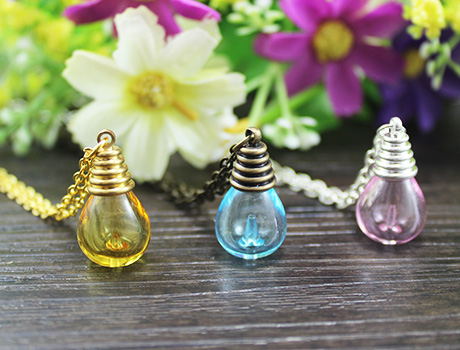Perfume Bottle Necklace With Preglued Metal Caps