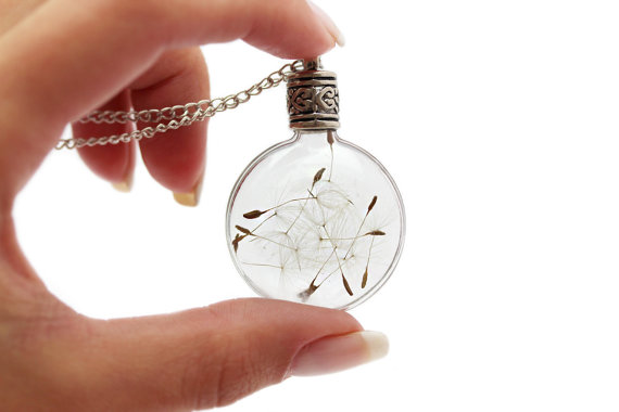 32X14MM Glass Flat Bulb Dandelion Real Seed Globe Necklace